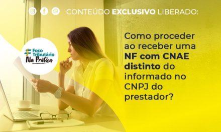 Como proceder ao receber uma NF com CNAE distinto do informado no CNPJ do prestador?